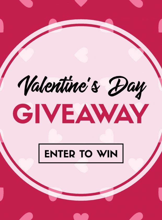 Valentine's Day giveaway. Enter to win. Vector banner template for online holiday contest